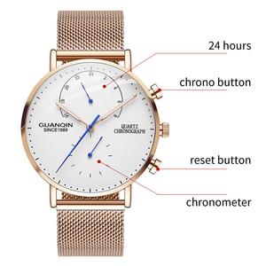 Image 2 - 2019 Mens นาฬิกา GUANQIN Top Brand Luxury Luminous นาฬิกาผู้ชายธุรกิจเหล็กเต็มรูปแบบ Creative นาฬิกาข้อมือควอตซ์ Relogio Masculino