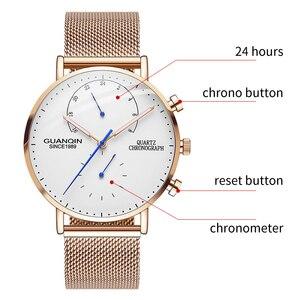 Image 2 - GUANQIN montre bracelet créative à Quartz pour hommes, marque de luxe, lumineuse, entièrement en acier, 2019