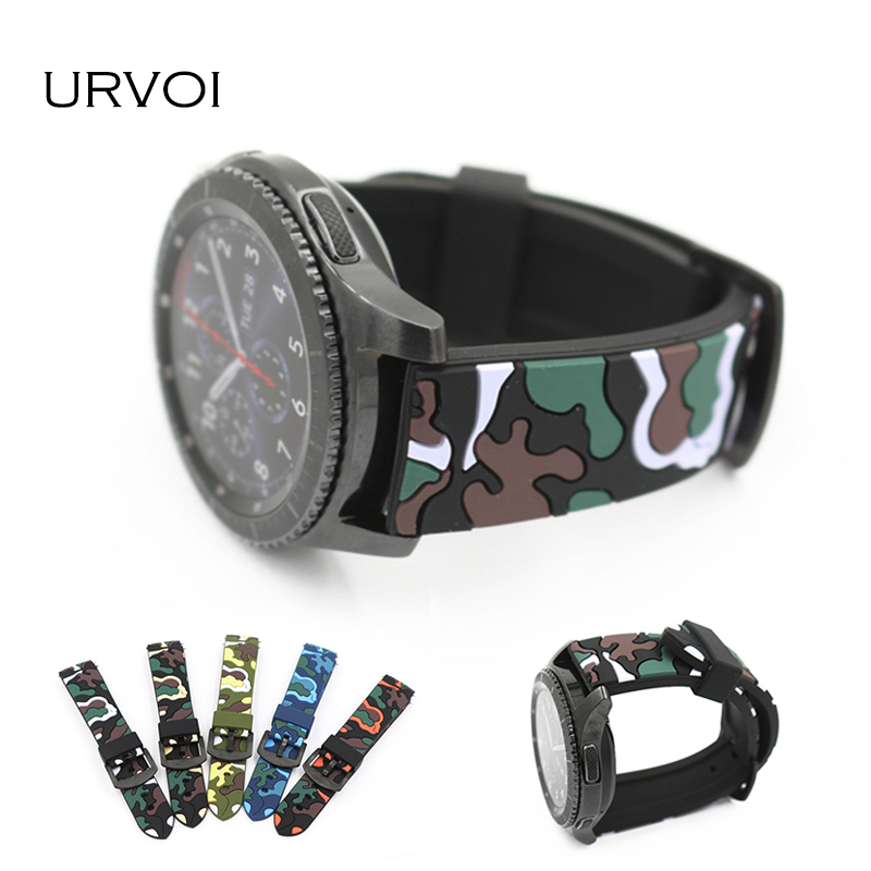 URVOI band for Samsung Gear S3 R760 R770 strap wrist camouflage silicone with closure CAMO army design replacement 22mm replace jansin 22mm watchband for garmin fenix 5 easy fit silicone replacement band sports silicone wristband for forerunner 935 gps