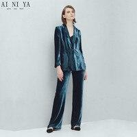 Темно синего озера бархат вечерние комплекты из 2 предметов Для женщин Бизнес костюмы с брюки и пиджак деловой костюм для стройных дам Брючн