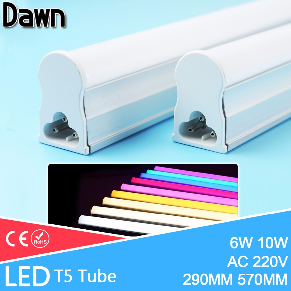 LED Tube T5 Light 30CM 60CM 220V~240V LED Fluorescent Tube LED T5 Tube Lamps 6W 10W Cold White Light Lampara Ampoule PVC Plastic energy savingt8 60cm led 10w fluorescent 40w equivalent tube replacement fluorescent lamp fixture no ballast no uv