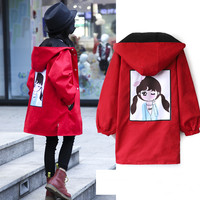 2018 Kids Long Jackets For Girls Children Fashion Windbreaker Girl Hooded Coat Red Black Blazer Windproof