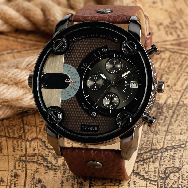 цена на Masculino Relojes 2018 New OULM Watch Men Quartz Sports Leather Strap Watches Fashion Male Military Wristwatch Fashion Saati