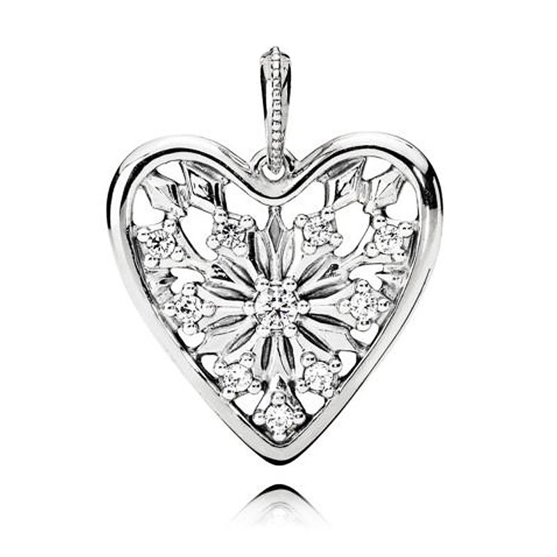 New 925 Sterling Silver Bead Charm Heart Of Winter With