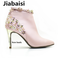 Jiabaisi Shoes Womens Flowers Platform Pointed Toe Warm Heel Boots Ankle Revits Micorfiber Stiletto Classic Zipper