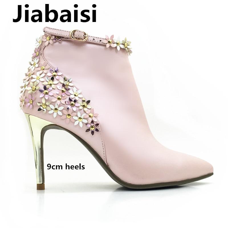 Jiabaisi shoes womens Flowers platform pointed toe warm heel boots Ankle Rivets Microfiber stiletto classic zipper women booties denim zipper hollow worn stiletto womens sandals