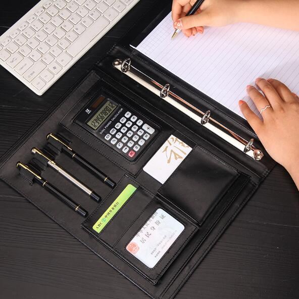 PU Loose Leaf Business Manager A4 File Folder Document Clip Bag With Calculator And Memo Papers Office Notebook Stationery