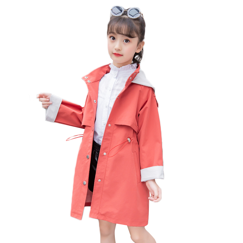 2019 New Autumn Teenager Girls   Trench   Coats Solid Cotton Hooded Single Breasted Children Long Outerwear Jacket Costume Clothes