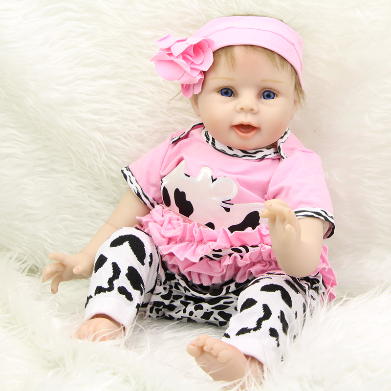 Realistic Reborn Baby Girl Soft Silicone 22 inch Babies Doll Toy Touch Real  PP Cotton Body Reborn Baby Dolls kids Birthday Gift 06574302aa