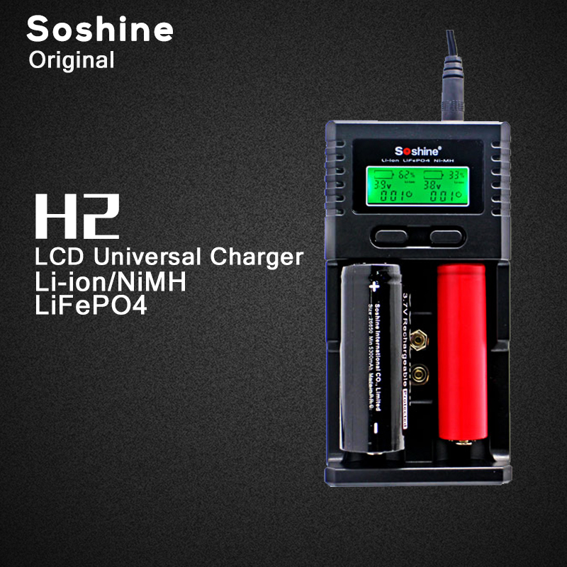 Original Soshine H2 Intelligent Battery Charger with 2 Slot LCD Display and Car Charger for Li-ion 18650 Ni-MH AA AAA LiFePO dc 12v 2a black battery analyzer tester charger li ion aa aaa 18650 ni mh intelligent volt voltage monitoring