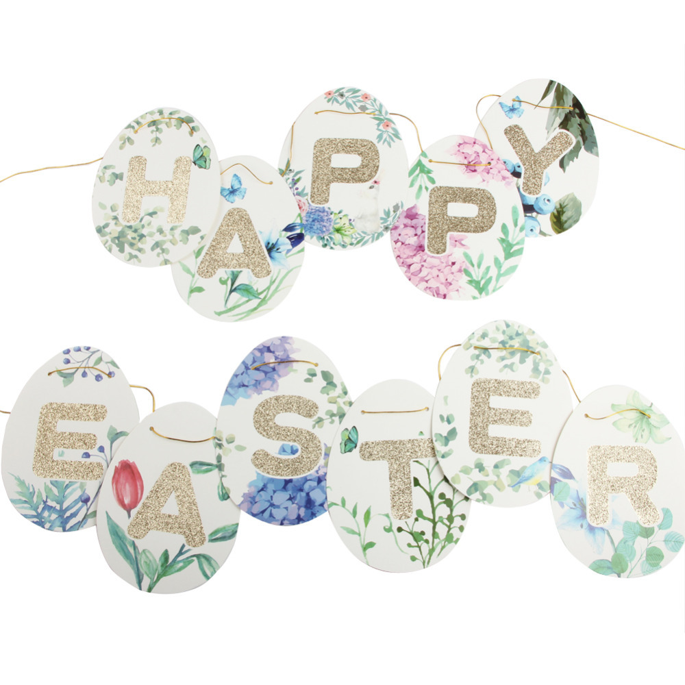 Gold Glitter Fun Egg Shaped Happy Easter Banner Floral Garland Happy Easter Sign Easter Bunting Spring Time Easter Brunch Decor
