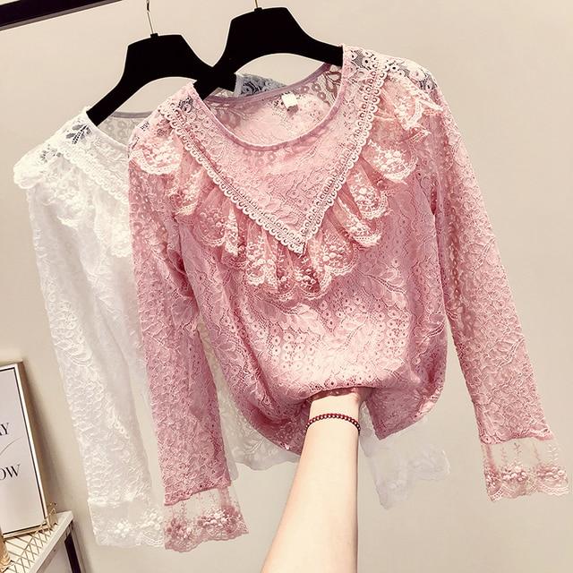 MUMUZI Summer Lace Basic Tops Women 2019 New Pink Long Sleeved Fleece Warm Blouse Elegant Slim Hollow Out Crochet Lace Shirts