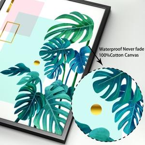 Image 4 - ירוק צמח Monstera עלים דקל גיאומטריה קיר אמנות בד ציור נורדי והדפסי קיר תמונות לסלון דקור