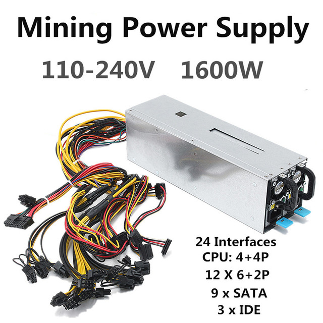 1600W Miner Power Supply Mining Machine Power Supply For Eth Bitcoin Miner Antminer Server S7 S9 T9 E9 A7