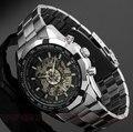 Venda quente Luxo Luminous Esqueleto Dial Stainless Steel Band Mecânico Automático do Relógio de Pulso Das Mulheres Dos Homens Melhor Presente de Natal M106