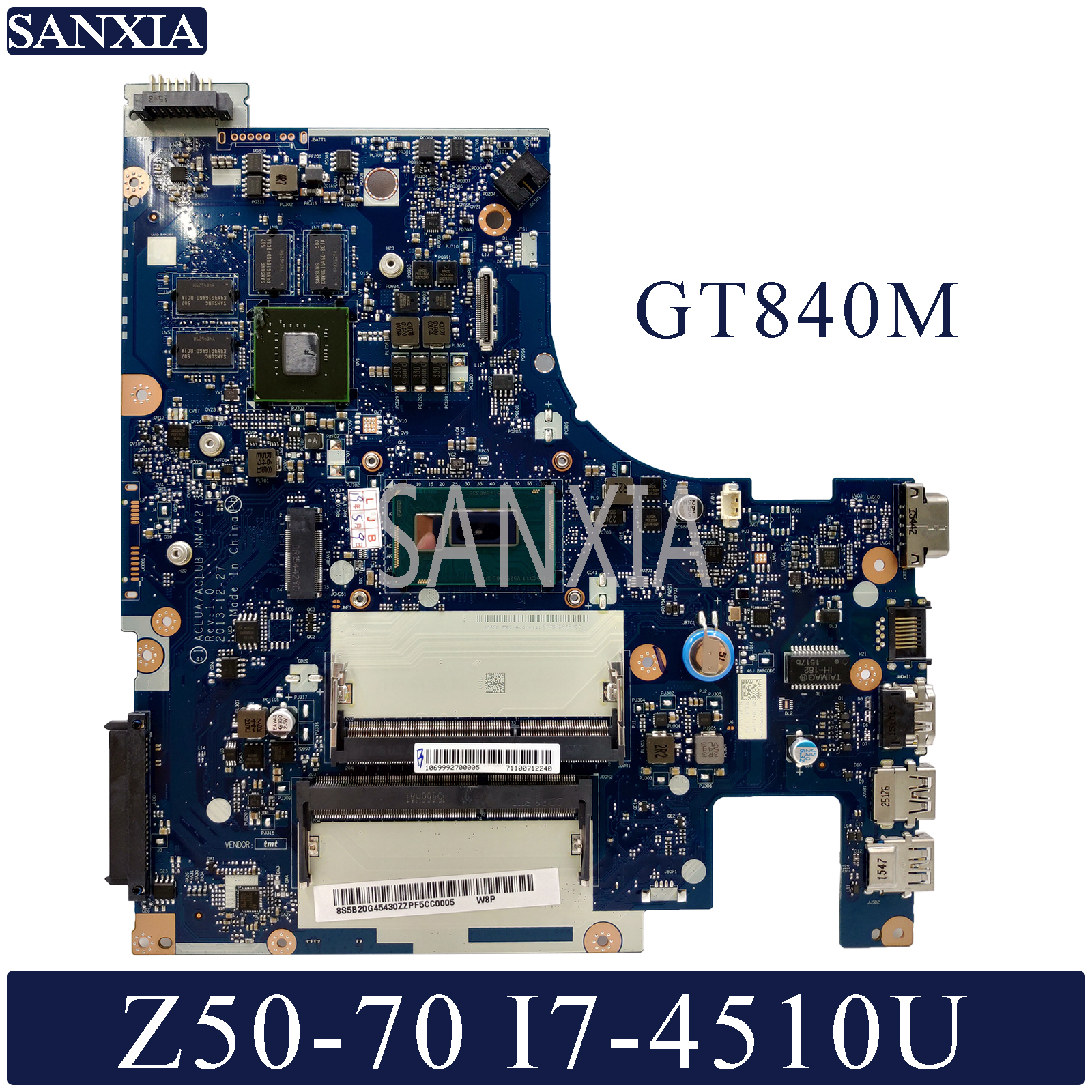 KEFU NM A273 Laptop motherboard for Lenovo Z50 70 Test original mainboard I7 4510U GT840M
