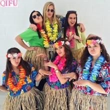 QIFU 10Pcs Hawaiian Party Artificial Flowers leis Garland Necklace Fancy Hawaii Wreath Tropical Beach Party Decor Wedding Gifts