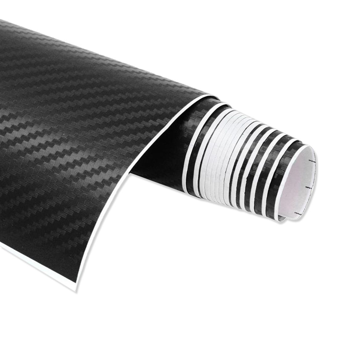 Car Vehicle DIY 3D Carbon Fiber Vinyl Wrap Roll Film Sticker Decal 70x10cm Black