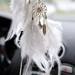 Image 5 - Car Pendant Accessories Hand woven Pendant Feather Dream Catcher Interior Decoration Pendant Style Home Wall Decoration Feather