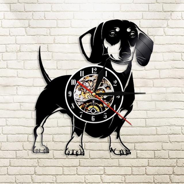 abbcb6de110ed 1 pièce teckel chien vinyle Record horloge murale animaux horloge murale  Pet Doggy carlin décor à