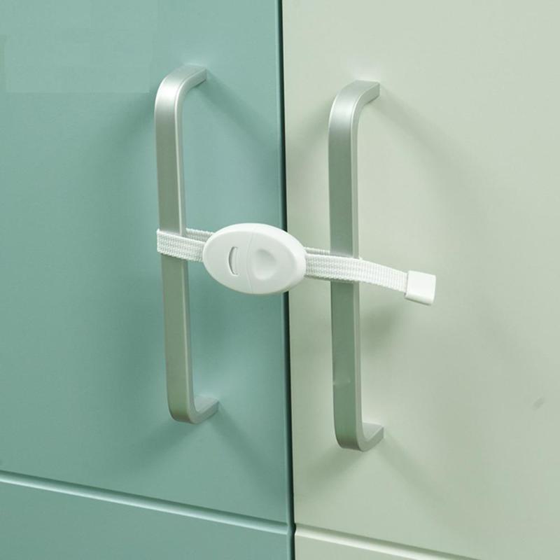 2pcs Baby Drawer Cabinet Cupboard Safety Locks Straps Plastic Kids Refrigerator Closet Door Handle Lock For Children Protection