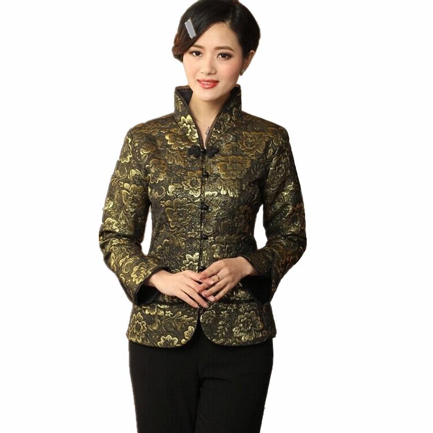 New Autumn Floral Black Women Satin Coat Chinese Vintage Style Elegant Clothing Print Slim Jacket Size M - XXXL CQ011