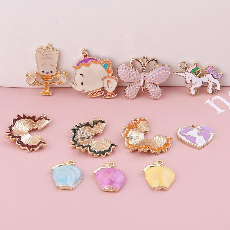 30pcs/lot enamel cartoon Teacup butterfly apple candle Pencil flower shape alloy floating locket charms diy jewelry accessory