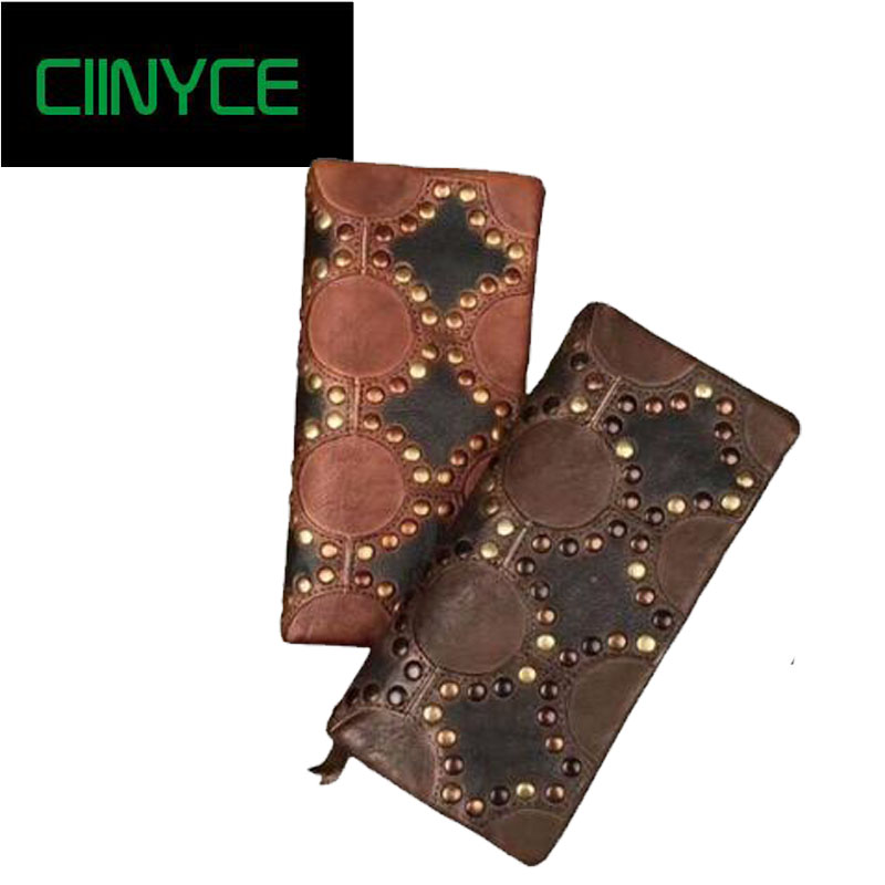 New Handmade Women Wallet Retro Genuine Leather Female Clutch Vintage Design Brand Rivets Cowhide Purse Cell Phone bag chosen 4 sealed bearings hub 32h mountain mtb road bike disc brake hubs set 652g