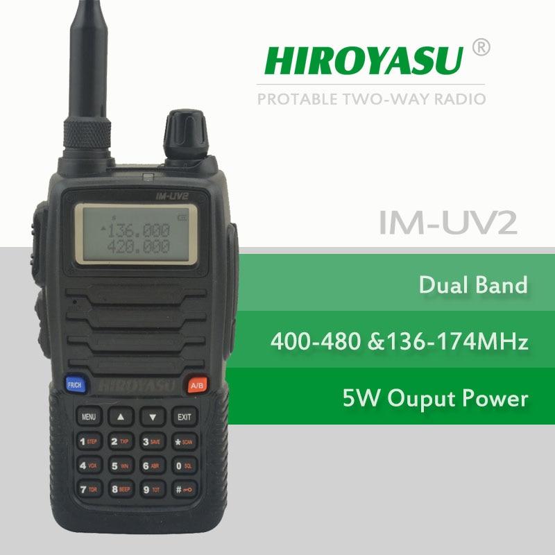 Color Black HIROYASU IM-UV2 136-174MHz & UHF400-480MHz Dual Band 5W/4W 128CH FM 65-108MHz Portable Two-way Radio FM Transceiver