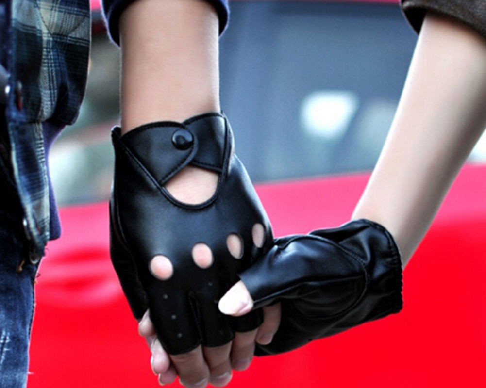 Red leather driving gloves womens - 2015 New Arrival Pu Leather Black Women S Half Finger Driving Women Gloves 1 Pcs Fingerless Gloves