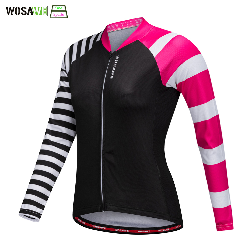 WOSAWE Female Cycling Jersey Long Sleeves Road Cycling Clothes Spring Autumn Breathable Long Sleeves Bicycle Women's Jersey