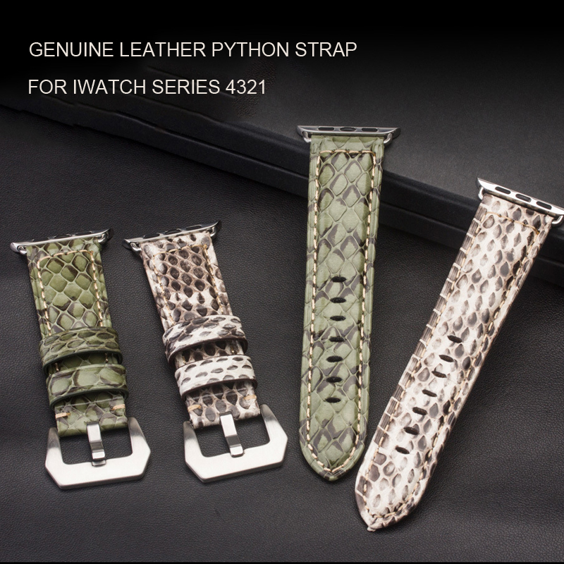 Luxury Genuine leather python strap For Apple Watch band 4 40mm 44mm Watchband for iwatch series 3 2/1 38mm 42mm BandsLuxury Genuine leather python strap For Apple Watch band 4 40mm 44mm Watchband for iwatch series 3 2/1 38mm 42mm Bands