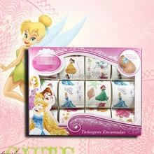 12pcs/box Kids Toy Cartoon Princess Tattoo Sticker Temporary Tattoos Set maquiagem tatuagem Gift for Child
