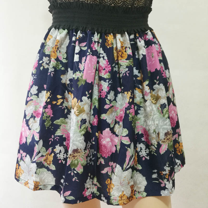 Fashion Pleated Retro High Waist Summer floral plaid Short Mini Skirts 5