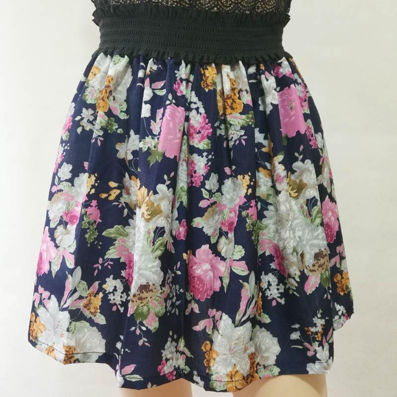 Fashion Pleated Retro High Waist Summer floral plaid Short Mini Skirts 5
