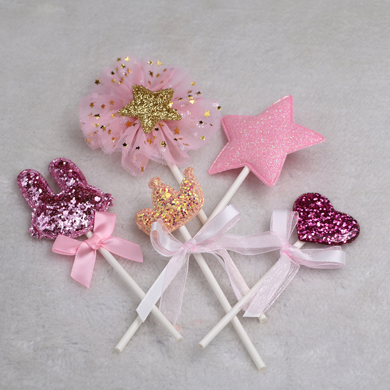 Image 3 - 5 pcs/lot pink star heart crown birthday cake topper cupcake decoration baby shower kids birthday party wedding favor supplies-in Cake Decorating Supplies from Home & Garden