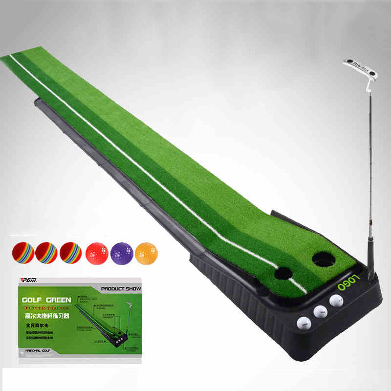 Pgm indoor putting trainer child exercise mat cudweeds belt set golf training mat golf putting mat mini golf putting trainer with automatic ball return indoor artificial grass carpet