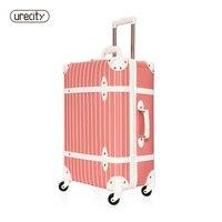 Ретро чемодан универсальный 4 колеса кожаный чемодан полосатый камера розовый дети камера для девочек счетчик прокатки чемодан большой