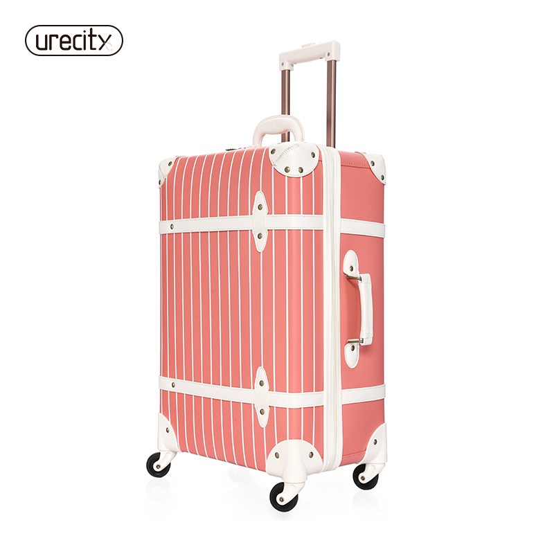 Retro suitcase Universal 4 wheels Leather suitcase Striped luggage pink children kids lu ...