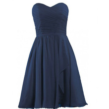 Navy Short Bridesmaid Dress Sweetheart Knee Length High Quality Cheap Chiffon Maid of Honor Dress