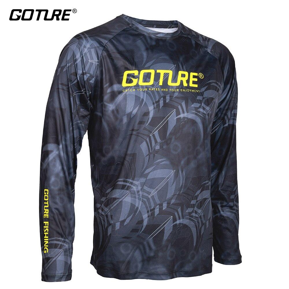 Goture Pesca Abbigliamento Asciutto Rapido Respirabile Anti-Uv Manica Lunga Antibatterico Tessuto Elastico di Sport T-Shirt Vestiti di Pesca