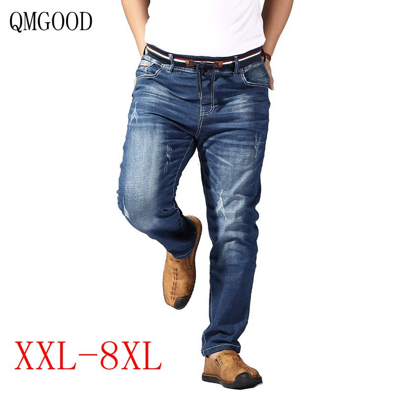 85758638247c0 QMGOOD High Quality Big Size Mens Jeans Brand Men Clothes 2018 Male Denim  Pants Fashion Elastic