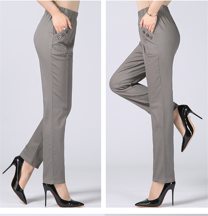HTB1GNzQcRsmBKNjSZFsq6yXSVXak - Plus Size 5XL High Waist Stretch Long Pants Women Cotton Straight Trousers Women Pantalon Femme Work Office Ladies Pants C4315
