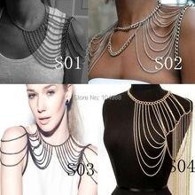 Nouveautés femmes mode corps chaînes épaule bijoux différents STYLES épaule  chaînes bijoux 3 couleurs bb15a911989