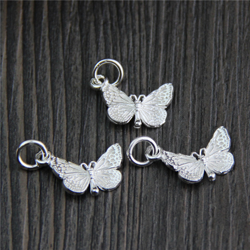 100%925-Sterling-Silver Butterfly Necklace-Bracelets Charms Dangle-Pendants Handmade title=