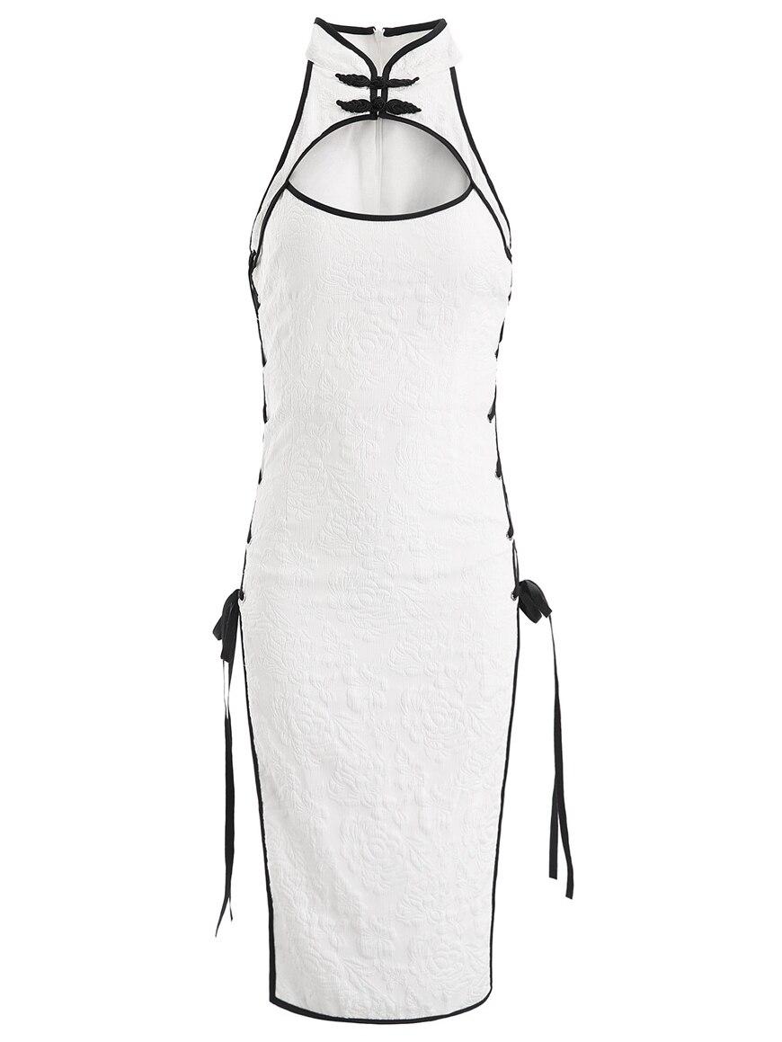 Womens Sexy Cosplay Costume Cheongsam Lingerie Strappy Corset Nightie Sleepwear Underwear Dress White Black Erotic Cheongsam 1