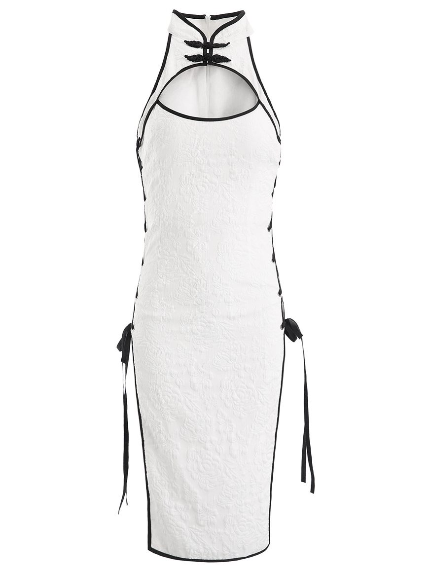 Womens Sexy Cosplay Costume Cheongsam Lingerie Strappy Corset Nightie Sleepwear Underwear Dress White Black Erotic Cheongsam