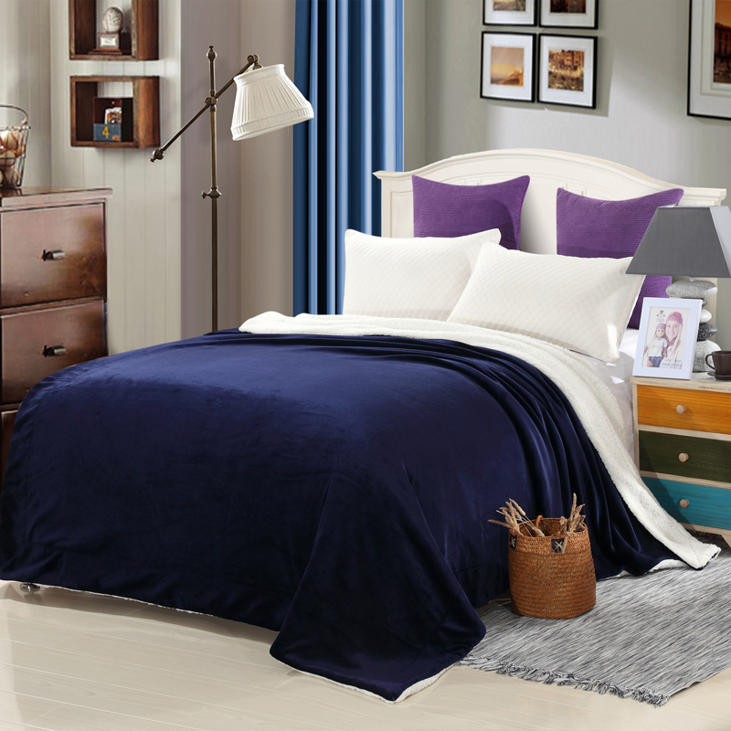 Full King Size Double Fleece Home Warm Winter blue Blanket Fur Plaid on Bed Modern Travel Office Cobertor Picnic Car Blankets