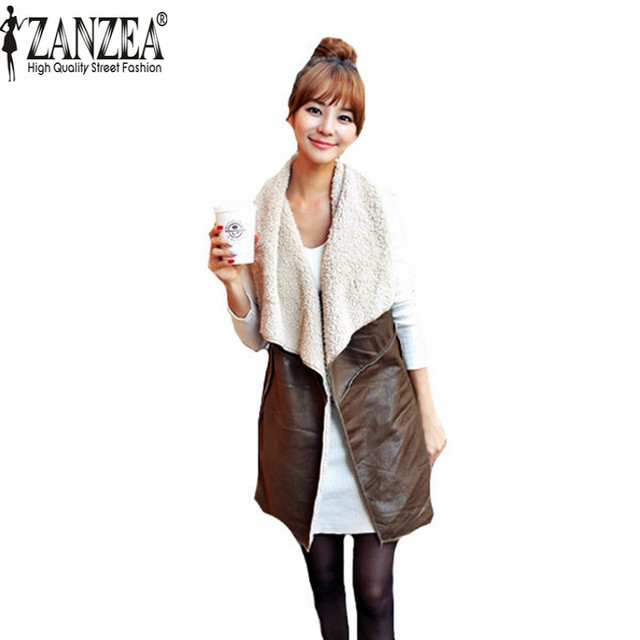 Zanzea Hot Sale 2017 Winter Women Lady Leisure Fashion Warm Faux Fur Collar Vest Long Leather Waistcoat Coat Outerwear Brown