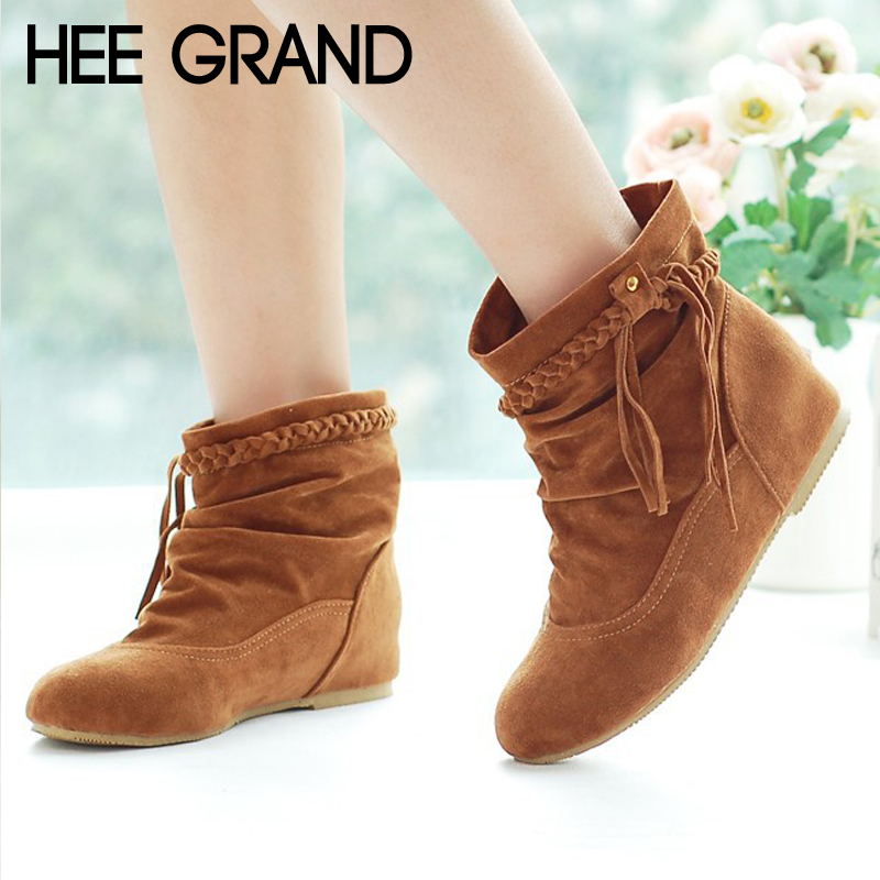 HEE GRAND Suede Women Ankle Boots Casual Platform Shoes Woman Round toe Slip On Winter Women Shoes Fringe Size 35-43 XWX7058HEE GRAND Suede Women Ankle Boots Casual Platform Shoes Woman Round toe Slip On Winter Women Shoes Fringe Size 35-43 XWX7058